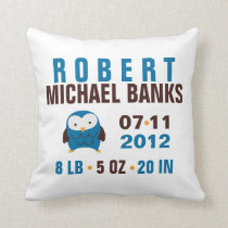 Cute Blue Owl Birth Announcement Throw Pillow