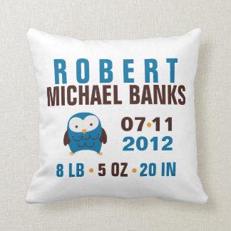 Cute Blue Owl Birth Announcement Throw Pillow