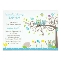 Cute Blue Owl Boy Baby Shower Invitations