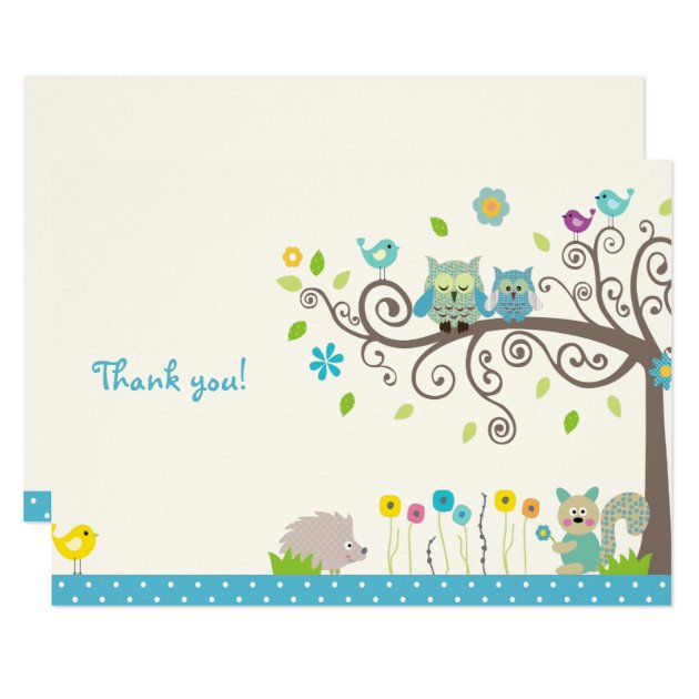 Cute Blue Owl Boy Baby Shower Thank You Cards | Zazzle