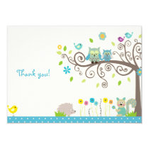 Cute Blue Owl Boy Baby Shower Thank You Cards