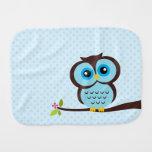 Cute Blue Owl Burp Cloths