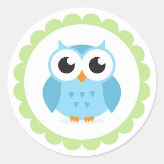 Cute blue owl cartoon inside green border classic round sticker