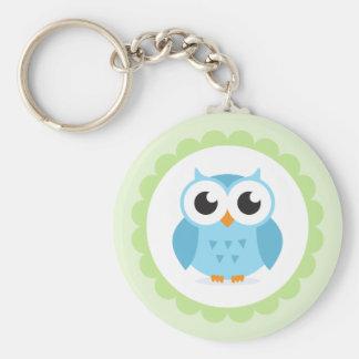 Cute blue owl cartoon inside green border basic round button keychain