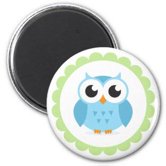 Cute blue owl cartoon inside green border fridge magnet