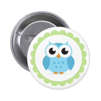 Cute blue owl cartoon inside green border pinback button