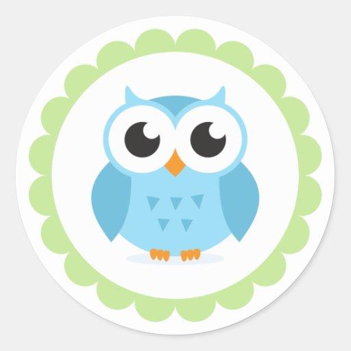 Cute blue owl cartoon inside green border round stickers