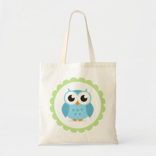 Cute blue owl cartoon inside green border tote bag