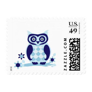 Cute Blue Owl Cartoon Stamp