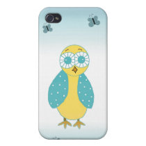 Cute Blue Owl Case For iPhone 4