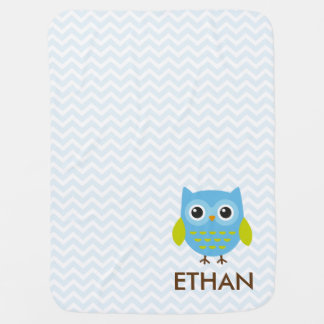 Cute Blue Owl Chevron Baby Blanket