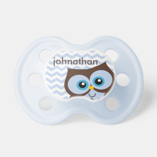 Cute Blue Owl Chevron Zigzag Monogram Pacifier