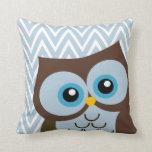 Cute Blue Owl Chevron Zigzag Pillows