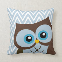 Cute Blue Owl Chevron Zigzag Throw Pillow