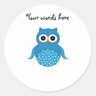 Cute blue owl classic round sticker