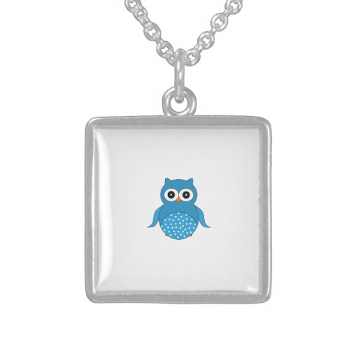 Cute blue owl custom necklace
