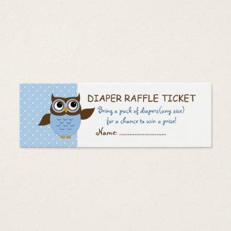 Cute Blue Owl Diaper Raffle Business Cards