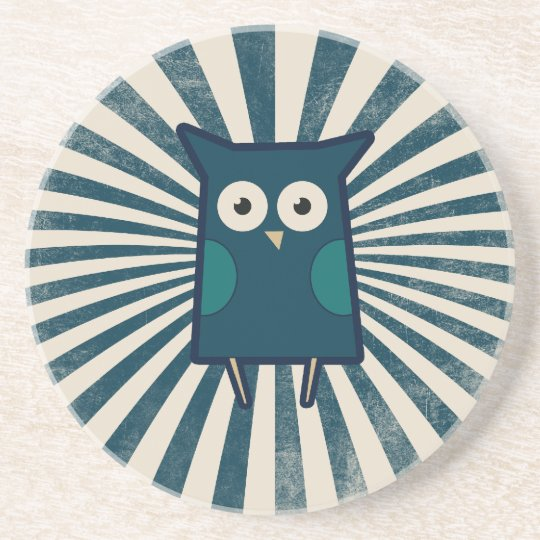 Cute Blue Owl Drink Coaster