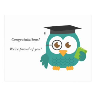 Cute Blue Owl for Graduation Postcard