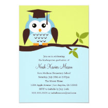 Cute Blue Owl Graduation Party Invitation