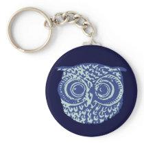 Cute blue owl keychain