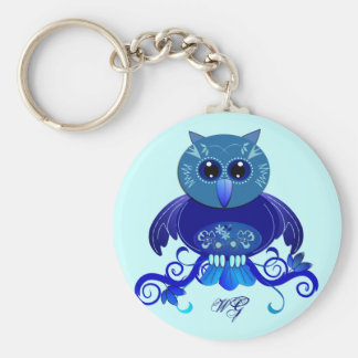 Cute Blue Owl keychain with monogram