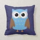 Cute Blue Owl Kids Throw Pillow