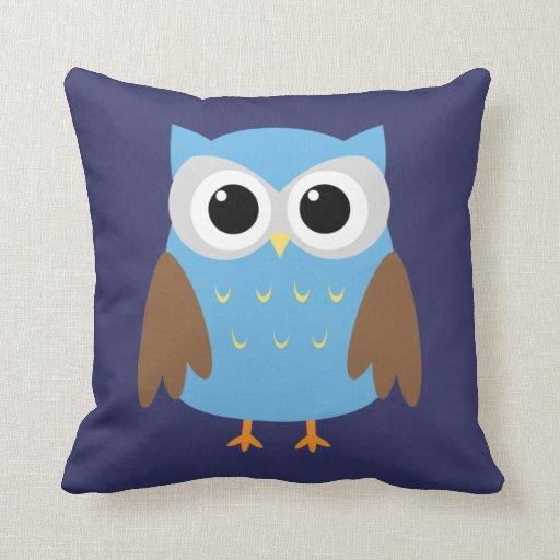 Cute Blue Owl Kids Throw Pillow Zazzle