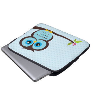 Cute Blue Owl Laptop Computer Sleeves