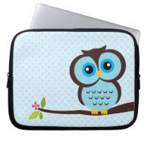 Cute Blue Owl Laptop Sleeve