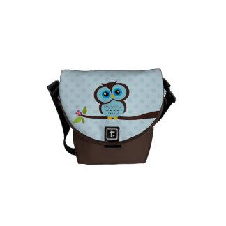 Cute Blue Owl Messenger Bag