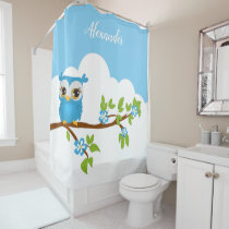 Cute blue owl on a branch shower curtain