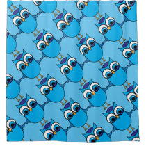 Cute Blue Owl on Blue Diagonal Pattern Shower Curtain