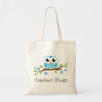 Cute blue owl on branch personalized library book tote bag