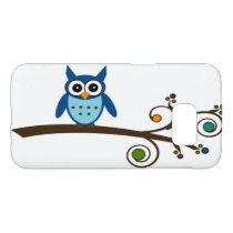 Cute Blue Owl on Colorful Swirly Tree Branch Samsung Galaxy S7 Case