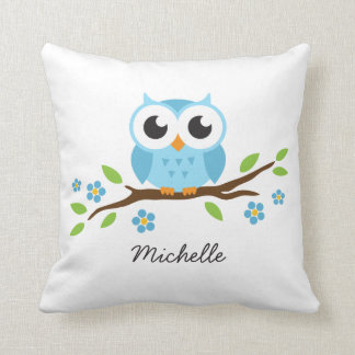 Cute blue owl on floral branch personalized name throw pillow