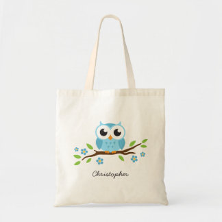 Cute blue owl on floral branch personalized name tote bag