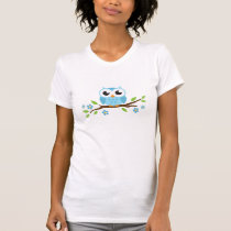 Cute blue owl on floral branch T-Shirt