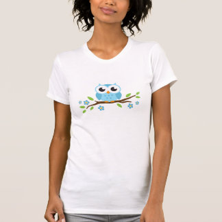 Cute blue owl on floral branch tee shirt