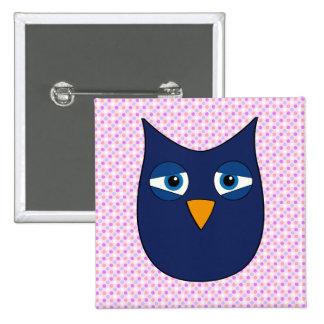 Cute Blue Owl on white/violet background Buttons