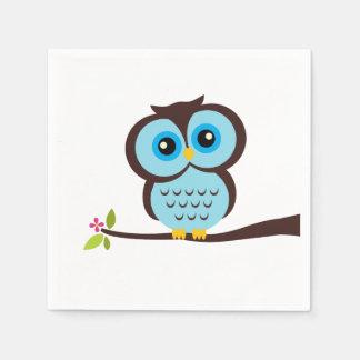 Cute Blue Owl Paper Napkin
