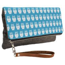 Cute Blue Owl Pattern Clutch
