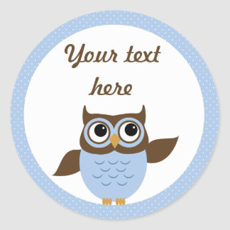 Cute Blue Owl Personalize Stickers