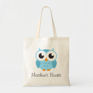 Cute blue owl personalized library book tote bag