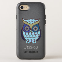 Cute Blue Owl Personalized OtterBox Symmetry iPhone 7 Case