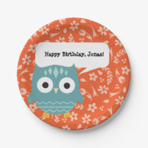 Cute Blue Owl Personalized Party Plates