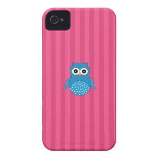 Cute blue owl pink stripes iPhone 4 Case-Mate cases