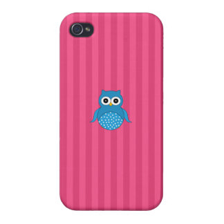 Cute blue owl pink stripes covers for iPhone 4