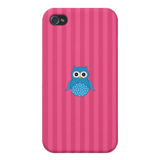 Cute blue owl pink stripes iPhone 4 cases