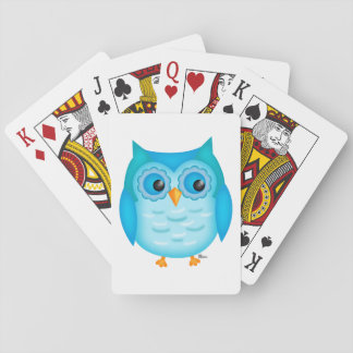 Cute Blue Owl Playing Cards